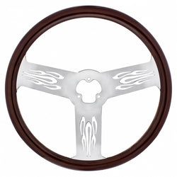 18 Inch Wood Steering Wheel - Firestorm