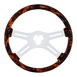 18 inch Flame Steering Wheel with Hydro-dip Finish Wood - 4 Spoke