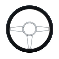 14 Inch Chrome Steering Wheels With Black Leather Grip - 3 Spoke