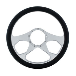 14 Inch Chrome Steering Wheels With Black Leather Grip - Boss