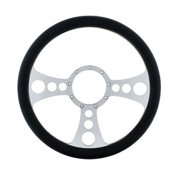 14 Inch Chrome Steering Wheels With Black Leather Grip - Chopper