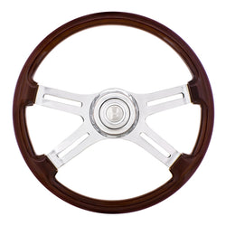 18 Inch 4 Spoke Steering Wheel With Chrome Horn Bezel And Horn Button