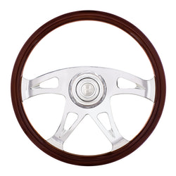 18 Inch Woodgrain Boss Steering Wheel With Chrome Horn Bezel And Horn Button