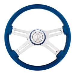 18 Inch Electric Blue 4 Spoke Steering Wheel With Horn Button And Color Matching Horn Bezel
