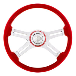 18 Inch Indigo Red 4 Spoke Steering Wheel With Horn Button And Color Matching Horn Bezel