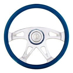 18 Inch Electric Blue Boss Steering Wheel With Horn Button And Matching Horn Bezel