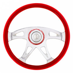 18 Inch Indigo Red Boss Steering Wheel With Horn Button And Matching Horn Bezel