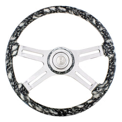 18 Inch White 4 Spoke Skull Steering Wheel With Horn Button And Matching Horn Bezel