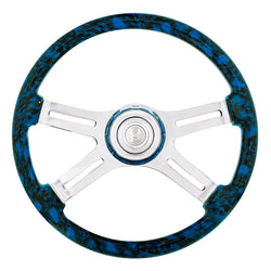 18 Inch Blue 4 Spoke Skull Steering Wheel With Horn Button And Matching Horn Bezel