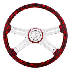 18 Inch Red 4 Spoke Skull Steering Wheel With Horn Button And Matching Horn Bezel