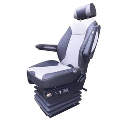 Knoedler Air Chief Wide Genuine Leader Seat - High Back Adjustable Arms - Black/Gray two tone