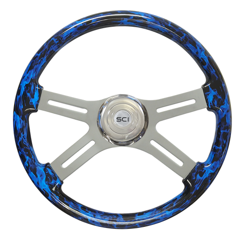 "Classic Inferno Blue - 18"" Printed Wood Rim"