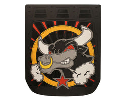 "Bull - Black Background - Mud Flaps 24"" x 30"""