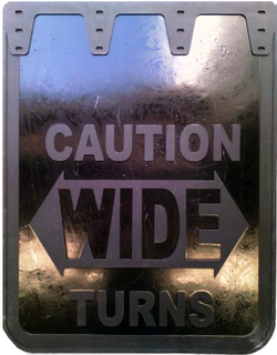 "EconoFlap Caution Wide Turns - Mud Flaps 24"" x 30"""