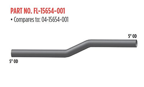 "2-Bend Freightliner 5"" OD/OD Long Exhaust Pipe"