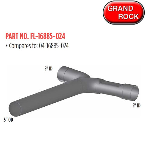 "Freightliner Classic Exhaust (GR-FL-16885-024) 5"" 2 Bend YPipe"