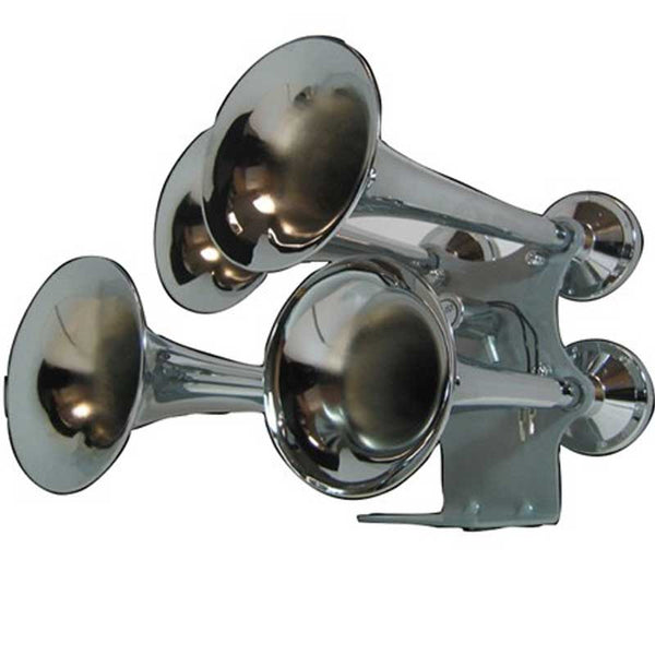 Compact Extra Loud 4 Bell Chrome Train Horn (140-145 Decibels)