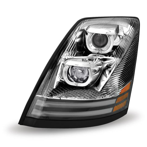 Volvo VNL LED Projector Chrome Headlight Assembly