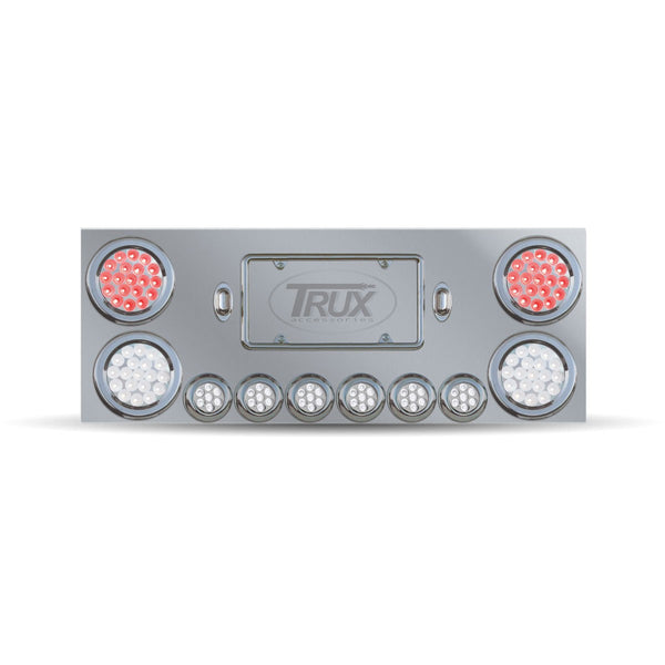 Stainless Rear Center Panel w/ Back Plate & Red Dual LED