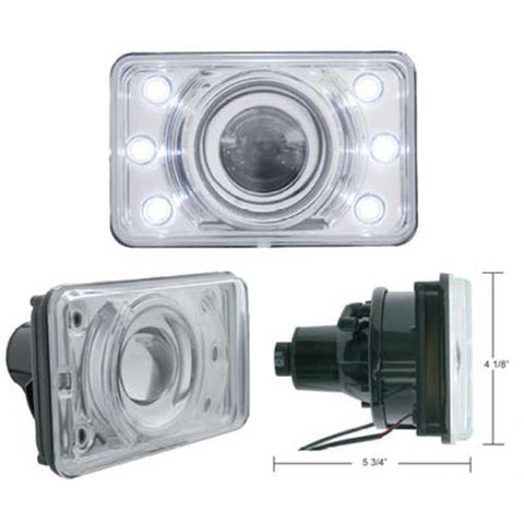 4 x 6 Inch Headlight w/ LED Position Light Low-Beam ONLY