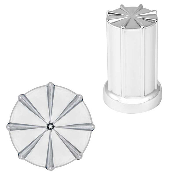 Chrome Plastic 33mm 8 Spoke Push-On Lug Nut Cover