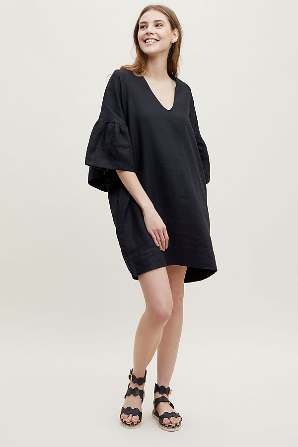 Annina Bell-Sleeve Linen Dress