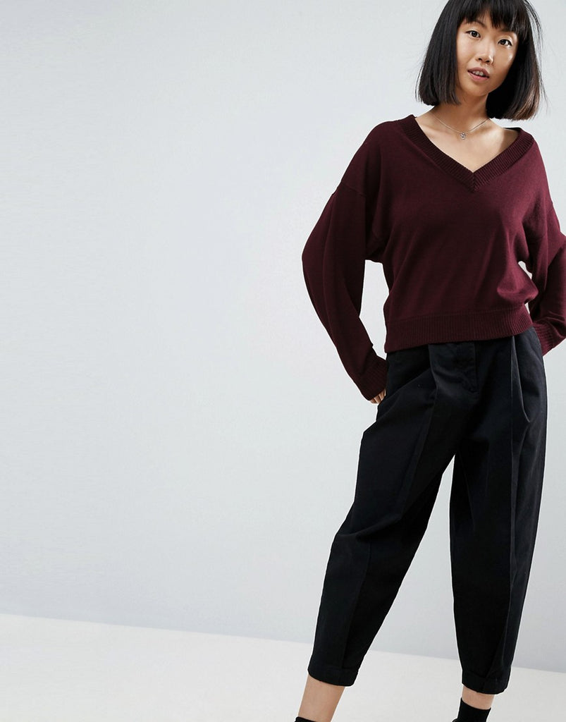 ASOS Jumper in Eco Yarn with V Neck and Batwing Sleeves - Berry