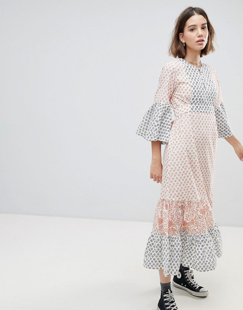 Maxi Tea Dress In Tile Print