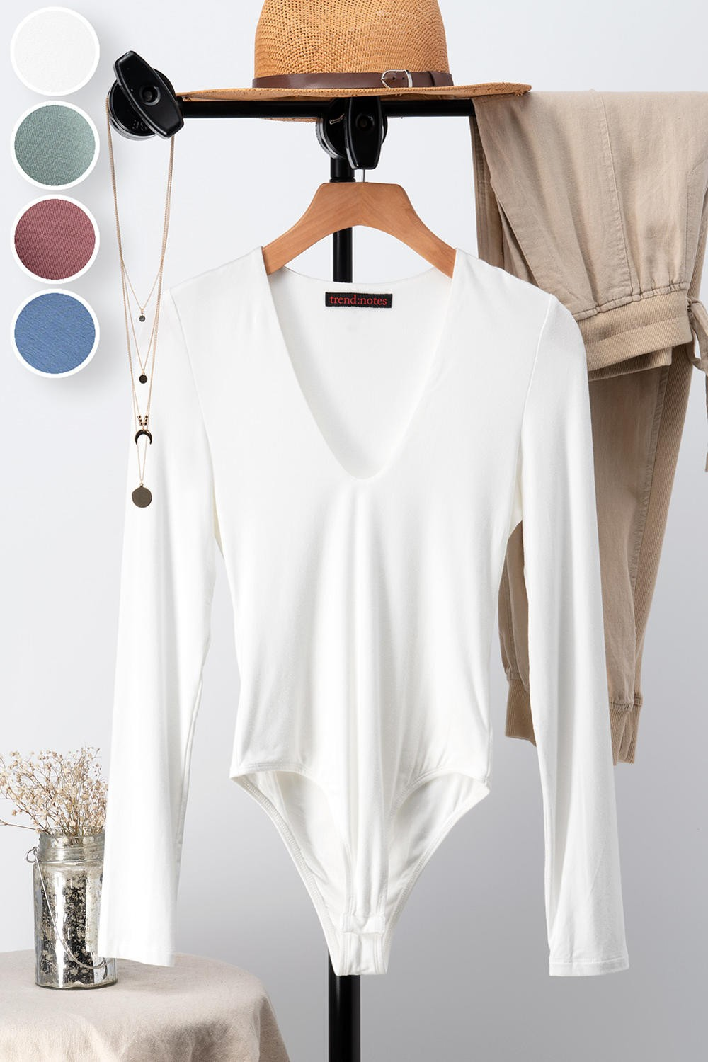 White Long sleeve Body Suit