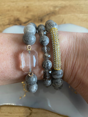 Dark Gray Glass Bead 3 strand bracelet