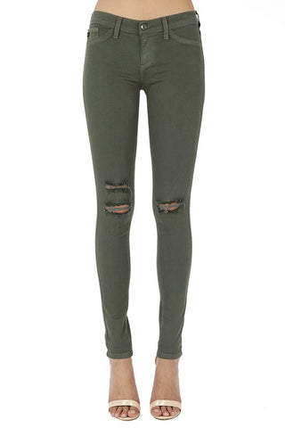 Distressed Olive Skinnies