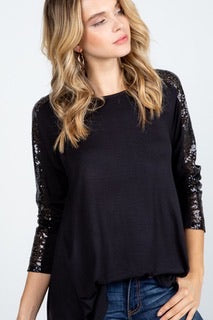 Black Sparkle Long Sleeve Top