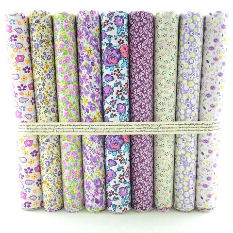Fat Quarters - 9 Pc Lot - Mixed Purple Floral Cotton Fabric Set