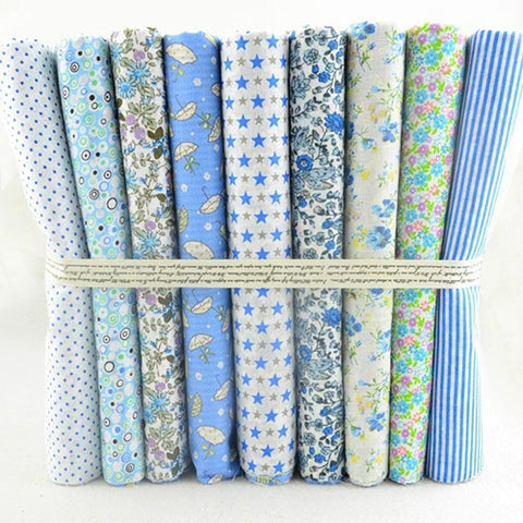 Fat Quarters - 9 Pc Lot - PREMIUM Blue Skies Cotton Fabric Set