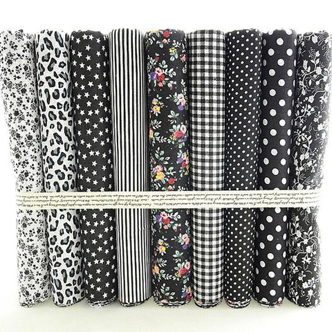 Fat Quarters - 9 Pc Lot - CLASSIC Black and White Cotton Fabric Set