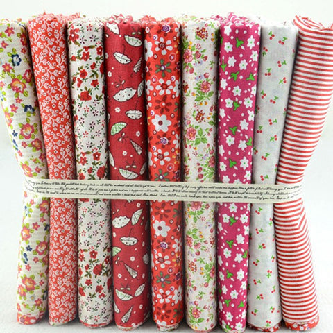 Fat Quarters - 9 Pc Lot - Cute Hot Red Cotton Fabric Set
