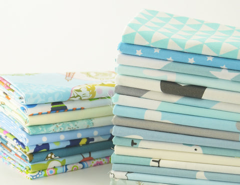 Fat Quarters - 25 Pc Lot - Spring Blue Cotton Fabric Set