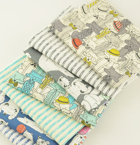 Fat Quarters - 7 Pc Lot - Animals and Stripes Cotton Fabric Set
