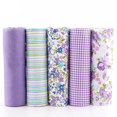 Fat Quarters - 5 Piece Lot - Purple Patchwork Fabric Bundle