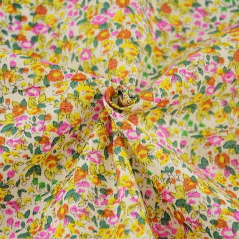 Modern Yellow and Orange Flowers - PREMIUM Sewing Fabric