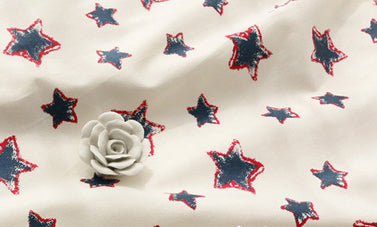 Single Piece Patriot Stars on White Cotton Linen Fabric Piece