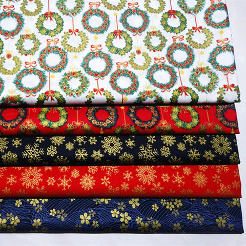 5-Piece Christmas Gold Stamped Cotton Fabric Lot