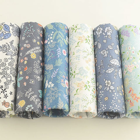 6-Piece Mixed Floral Series Cotton Linen Fabric Lot