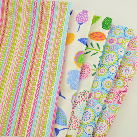 Fat Quarters - 5 Pc Lot - Spring Flower Print Cotton Fabric Set