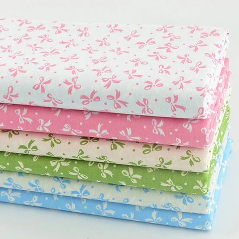 Fat Quarters - 6 Pc Lot - Cute Bowtie Cotton Fabric Set
