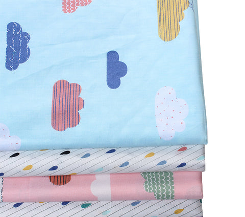 Fat Quarters - 4 Pc Lot - Clouds and Raindrops Cotton Fabric Set