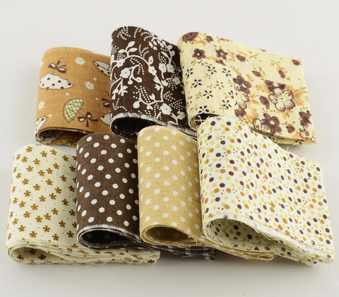 Jelly Roll - 7 pc lot - Cotton Fabric Strips - Coffee Series