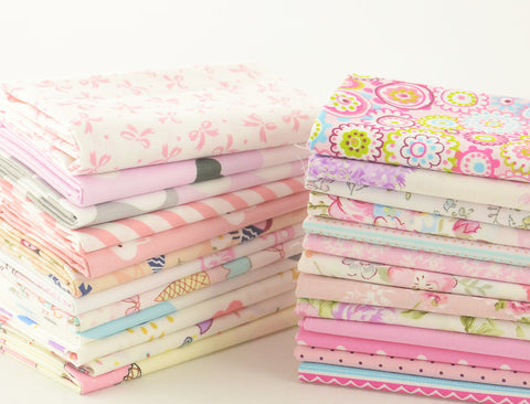 Fat Quarters - 25 Pc PREMIUM Lot - Spring Pink Cotton Fabric Set