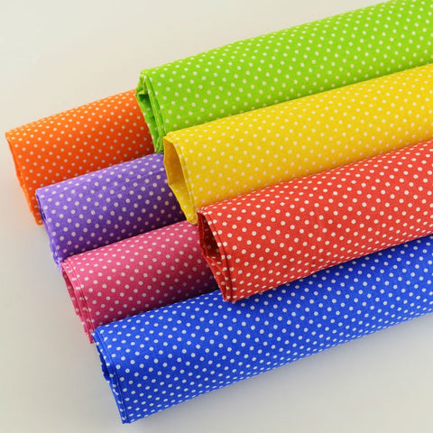 7 pc. PREMIUM Sewing Fabric lot - Rainbows and Polka dots