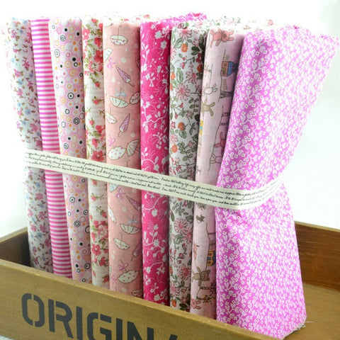 Fat Quarters - 9 Pc Lot - Kawaii Pink Cotton Fabric Set